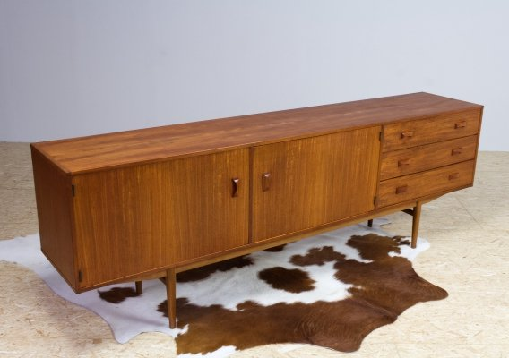 Mid-Century Modern Slim & Long Credenza in Teak by Fristho, 1960