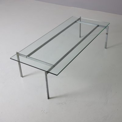 Modernist coffee table in metal & glass, 1960s