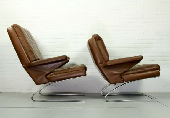 Set of leather COR Swing chairs by Reinhold Adolf, 1960s