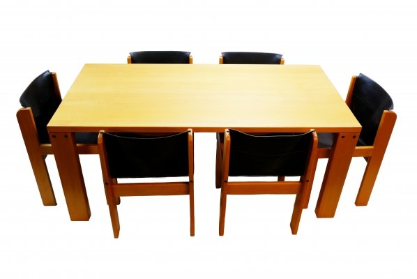 Ibisco Italian Dining Table with 6 chairs, 1970s