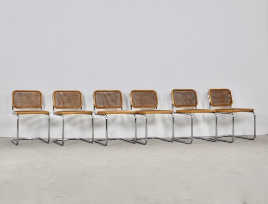 Set of 6 Gavina Dining chairs by Marcel Breuer, 1980s