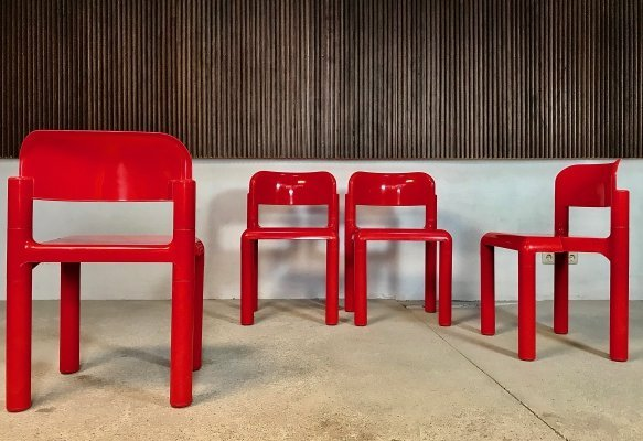 Set of 4 Stackable Dining Chairs by Eero Aarnio for UPO Furniture, Finland 1970s