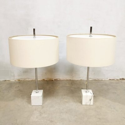Set of 2 midcentury Dutch design marble table lamps by Raak Amsterdam