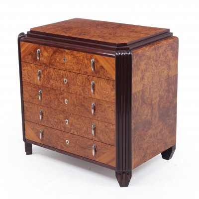 Art Deco Burr Walnut Silver chest for Orfevrerie Christofle, c1930