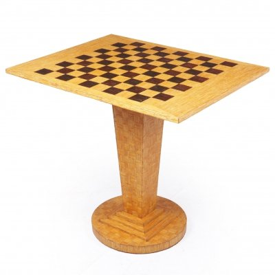 Art Deco Chess Table in Straw Work, c1930