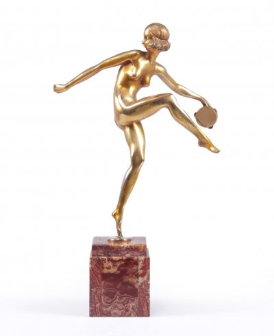 Art Deco Gilt Bronze Sculpture 'Tamborine Dancer' by Pierre Feguays, c1925