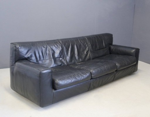 Black Leather Italian Sofa by Cassina, 1970s