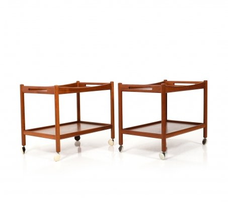Pair of Hans J. Wegner 'AT-45' Serving Trolleys in Teak, 1960s