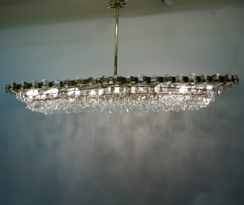 Large Austrian Midcentury Crystal Glass Chandelier by Oswald Haerdtl for J L Lobmeyr, 1950s