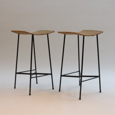 Pair of 1960s Metal & Cane stools