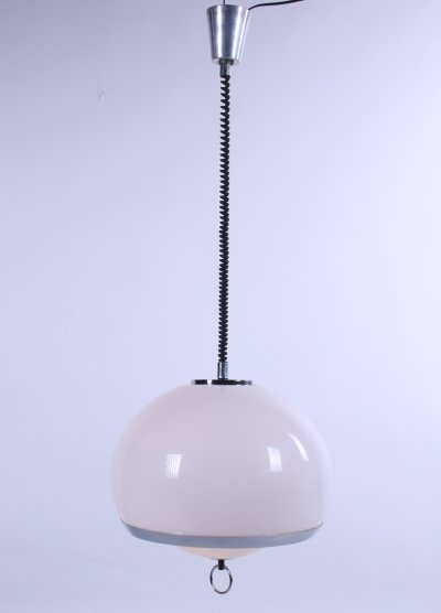 Opaline space age German hanging lamp with harmonica cord
