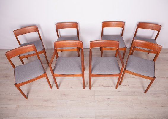 Set of 8 Mid Century Teak Dining Chairs by J. Nørgaard for Nørgaards Møbelfabrik, 1960