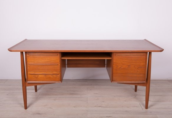Mid-Century Danish Teak Desk by Arne Vodder for H.P. Hansen, 1960s