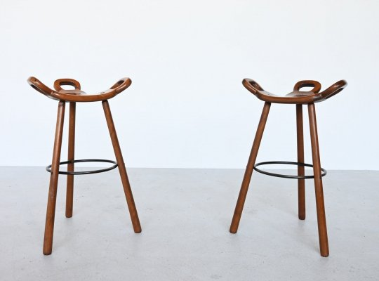 Confonorm pair of Marbella brutalist bar stools, Spain 1970