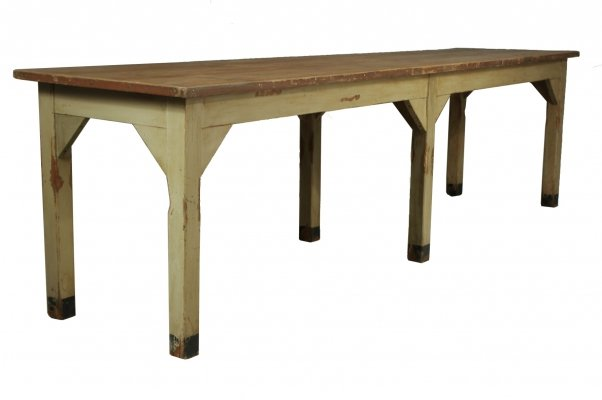 Vintage long pub table with six legs, 1930s