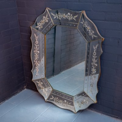 Large Venetian Art Deco mirror, 1950s