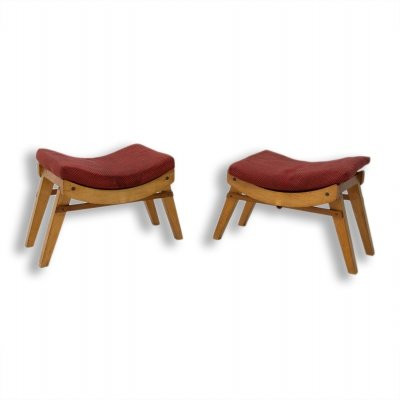 Pair of mid century stools / footrests by Krasna Jizba, Czechoslovakia 1950s