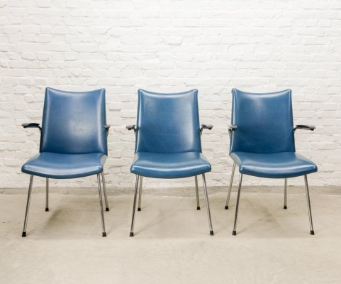 3 Dutch Design Blue Leatherette Arm/Dining Chairs by Gebroeders De Wit, 1960s