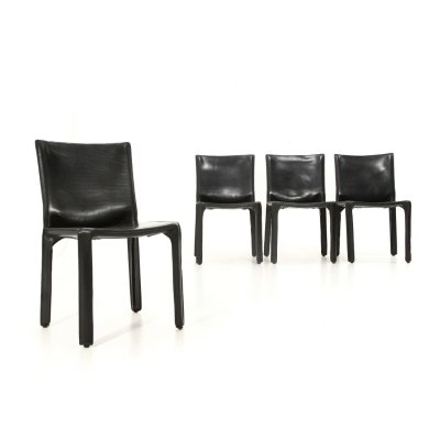4 'CAB' chairs in black leather by Mario Bellini for Cassina, 1970s
