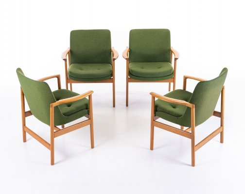 Set of 4 arm chairs by Ib Kofod Larsen for Fröscher Sitform, 1970s