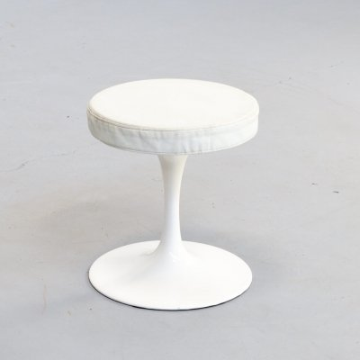 70s Rudi Bonzanini White metal & leather stool