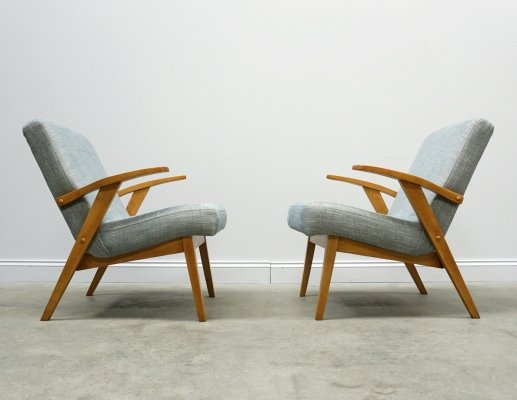 2 x Mid Century Easy Chair in Light Blue Upholstery, 1960s