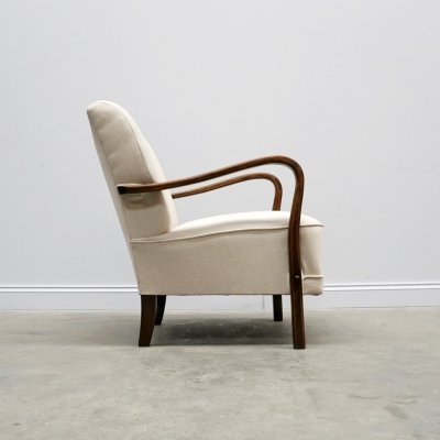 1940 Retro Lounger in Ivory Upholstery
