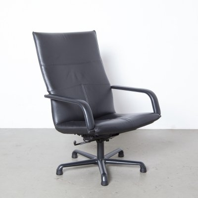 Black Leather Armchair by Geoffrey Harcourt for Artifort, 1990s
