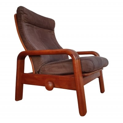 Danish adjustable HS Design lounge chair in teak wood, 1980s