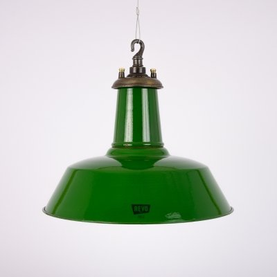 Original industrial green enamel factory lights by Revo, 1940s