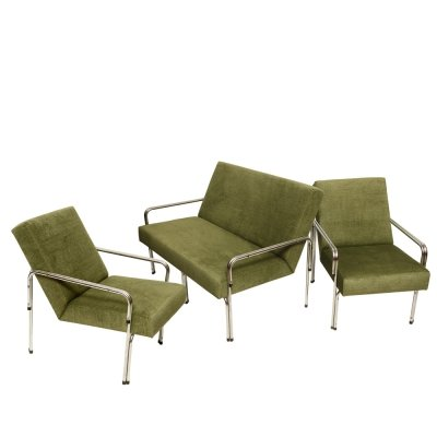 Green set of 2 seater sofa + 2 lounge chairs, Poland 1970s