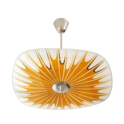 Orange-White Glass ceiling lamp by Napako, Czechoslovakia 1960s