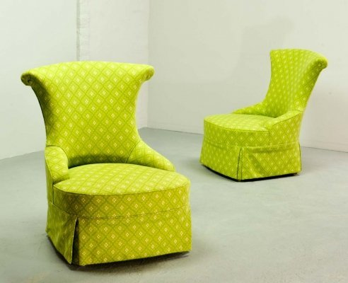 Pair of French Lime Green Boudoir / Slipper Chairs, France 1950s