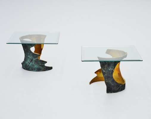 Willy Ceysens bronze side tables, Belgium 1970