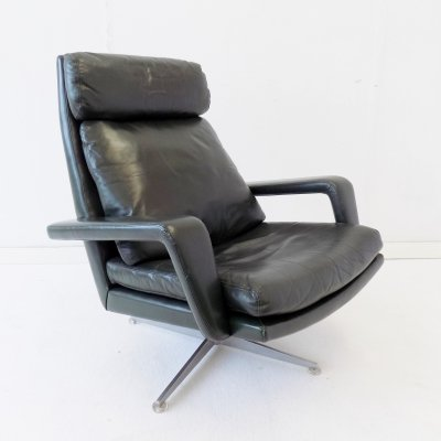 Kaufeld dark green leather lounge chair, 1960s