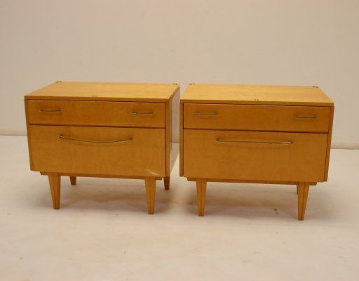 Set of Vintage bedside tables with drawers & flap, 1950s