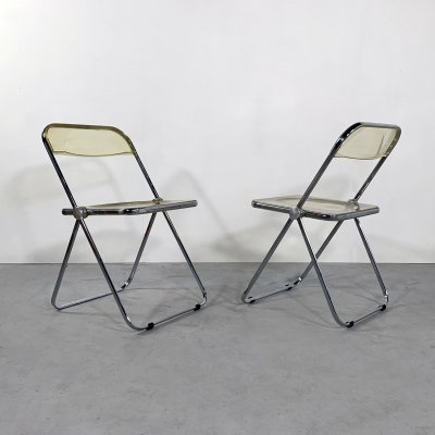 Lucite Plia folding chairs by Giancarlo Piretti for Castelli, 1960s