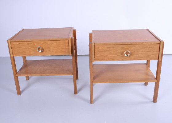 Set of Swedish Design Bedside tables with drawer & brass handle