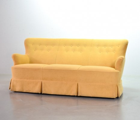 Theo Ruth Goldenrod Soft Yellow Three-Seat Sofa by Artifort, 1950s