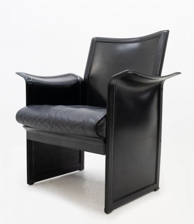 Korium Leather Armchair by Tito Agnoli