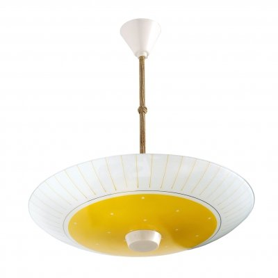 Yellow & white glass ceiling lamp, GDR 1970s