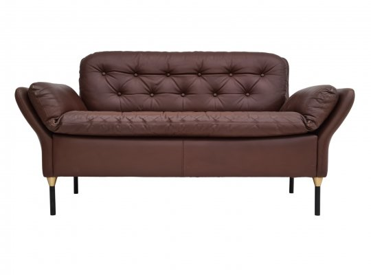 Danish 2 seater sofa in brown leather, 1970s