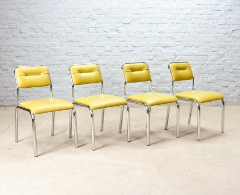 Set of 4 Olive Green Leatherette & Chrome Kitchen Chairs, Belgium 1960s