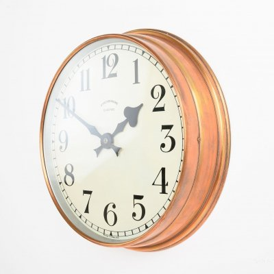 Coppered brass industrial clock by Synchronome, 1940s