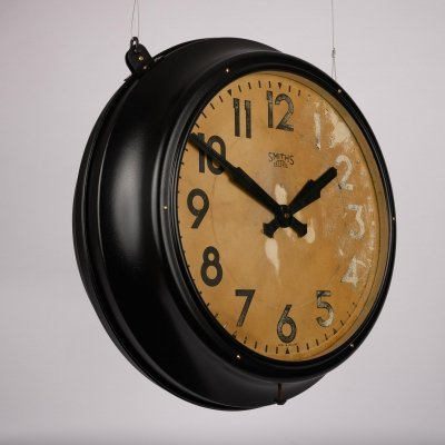 Original double sided metal industrial station clock by smiths, 1930s