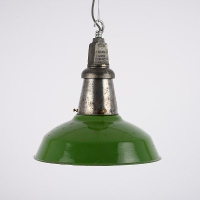 Vintage green enamel industrial pendants by Wardle of Manchester