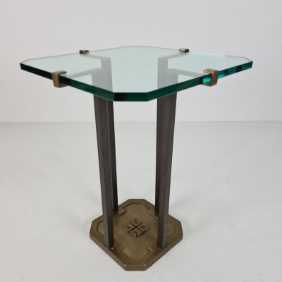 Brutalist brass & glass side table model T18 by Peter Ghyczy for Ghyczy, 1970s