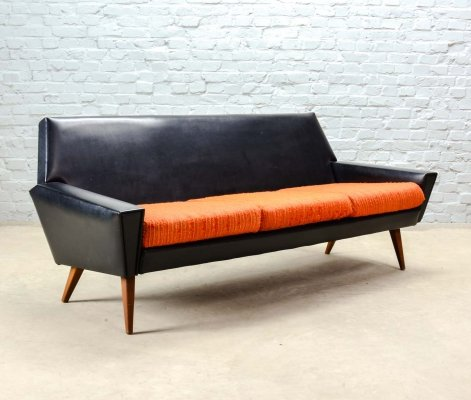 Piet Klerkx Rock & Roll Three Seat Sofa in Orange & Black Leatherette, 1960s