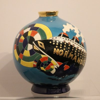 Multicolored vase with ceramic 'Normandie' inlay, France 1950s