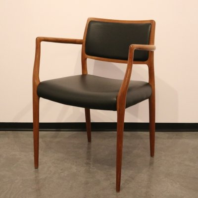Niels O. Møller Model 65 Armchair in teak & black leather, Denmark 1950s